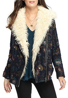 Free People Jacquard Wool Faux Fur Jacket