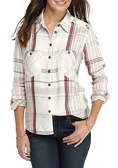 Free People Wesley Plaid Button Down Top