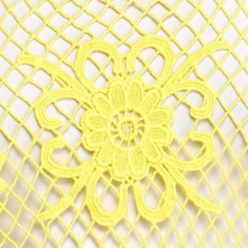 Sleeveless Shirts For Women: Yellow Cream Fever Solid Crochet Tank
