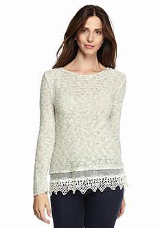Fever Crochet Hem Sweater
