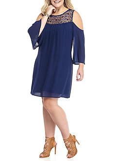 Free 2 Luv Plus Size Crochet Cold Shoulder Dress