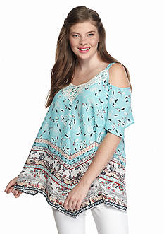 Free 2 Luv Plus Size Americana Cold Shoulder Top