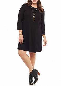 Free 2 Luv Plus Size Knit Swing Necklace Dress