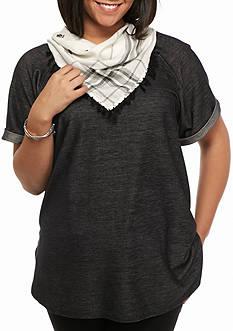 Free 2 Luv Plus Size Tunic Sweatshirt With Scarf