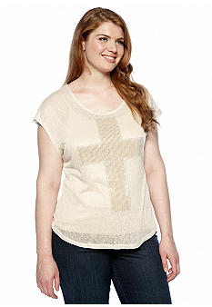 Free 2 Luv Plus Size Studded Cross Top