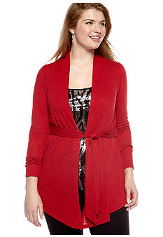 New Directions Plus Size Three-Quarter Sleeved Notch Collar Jacket