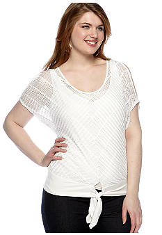 Free 2 Luv Plus Size Cold Shoulder Tie Front Top