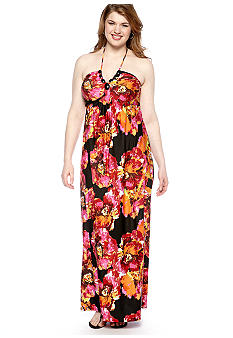 Free 2 Luv Plus Size Floral Print Maxi Dress with Jeweled Neckline