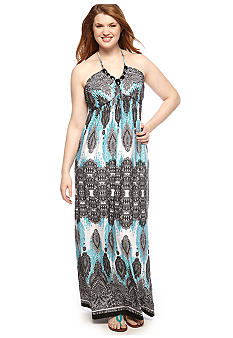 Heart N Soul Plus Size Print Necklace Maxi