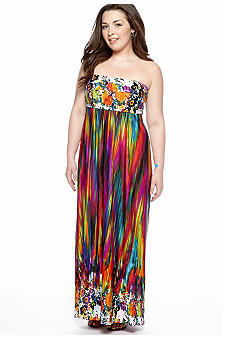Free 2 Luv Plus Size Strapless Maxi Dress
