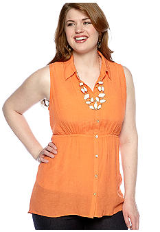 Free 2 Luv Plus Size Hi-Lo Tunic with Necklace