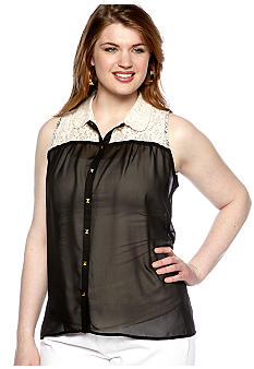 Free 2 Luv Plus Size Lace Trim Hi-Lo Equipment Shirt