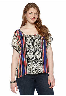 Free 2 Luv Plus Size Tribal Printed Top