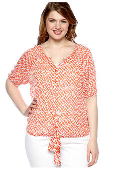 Free 2 Luv Plus Size Check Tie Front Blouse