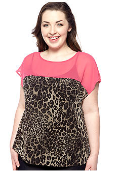 Free 2 Luv Plus Size Cheetah Print Blouse
