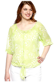 Free 2 Luv Plus Size Butterfly Print Tie Front Top