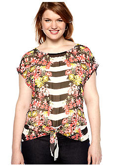 Free 2 Luv Plus Size Mix Print Tie Front Blouse