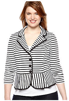 Free 2 Luv Plus Size Stripe Blazer