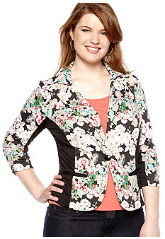 Free 2 Luv Plus Size Floral Colorblock Blazer