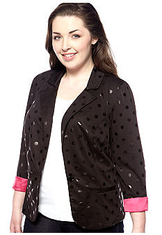 Free 2 Luv Plus Size Polka Dot Jacket with Pink Lining