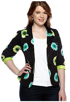 Free 2 Luv Plus Size Daisy Print Jacket
