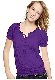 Belle Du Jour Broomstick Smocked Elastic Hem Peasant Top