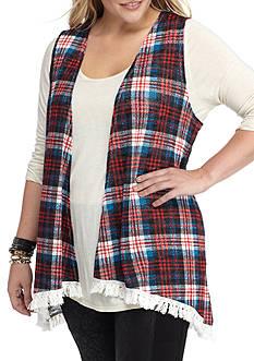 Self Esteem Plus Size Knit Top With Fringe Cozy Vest