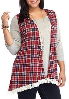 Self Esteem Plus Size Knit Top With Plaid Fringe Vest