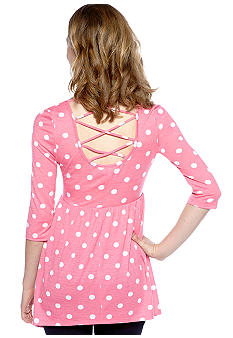 Belle Du Jour Three-Quarter Sleeve Back Polka Dot Babydoll Top