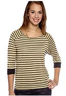 Belle Du Jour Lurex Stripe Banded Bottom Top