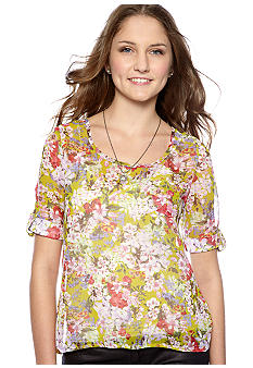 Belle Du Jour Printed Woven Button Back Top