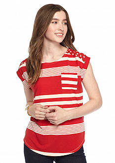 Belle du Jour Striped Twin Print Tee