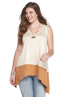 Belle du Jour Plus Size Suede Hem Tank with Necklace