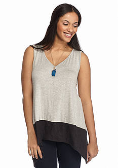 Belle du Jour Plus Size Faux Suede Trim Tank with Necklace
