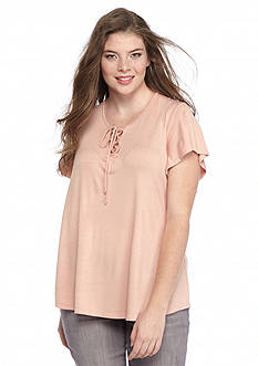 Belle du Jour Plus Size Lace Up Swing Tee