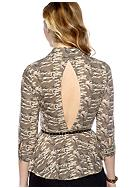 Self Esteem Open Back Belted Camouflage Printed Top