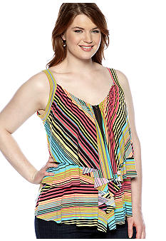 Belle De Jour Plus Size Striped Tiered Tank