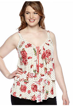 Belle De Jour Plus Size Floral Tiered Ruffled Tank
