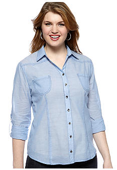Belle De Jour Plus Size Chambray Shirt
