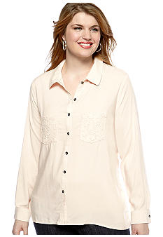 Belle De Jour Plus Size Crochet Shirt