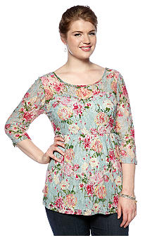Belle De Jour Plus Size Floral Printed Lace Peplum Top