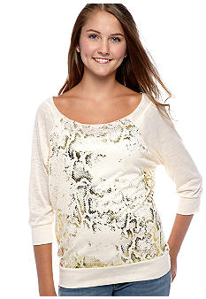 Belle Du Jour Snake Raglan Crochet Back Top