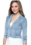 Belle Du Jour Allover Dot Denim Blazer