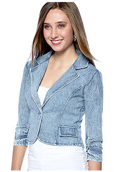 Belle Du Jour Belle Du Jour Allover Dot Denim Blazer