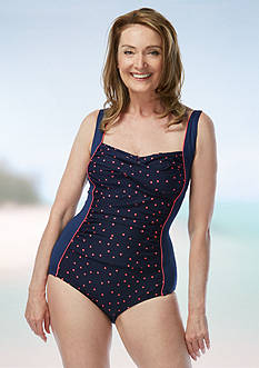 gabar Tossed Dot Twist Bra One Piece Swimsuit
