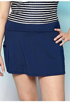 Beach House Plus Size Solid Skort Swim Bottom