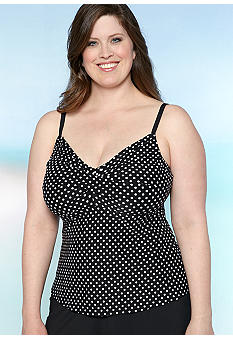 Beach House Woman Plus Size Retro Dot Twist Bra Tankini