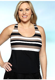Beach House Woman Plus Size Coast Line Stripe Tankini