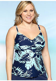 Beach House Woman Plus Size San Dune Floral Twist Bra Tankini