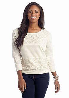 Dolled Up Lace Stripe Sweatshirt